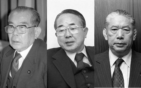 左から丹羽兵助氏、森山欽司氏。毛利松平氏=共同