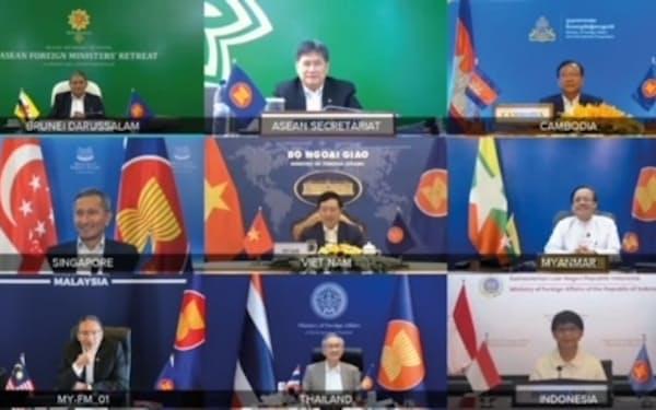 新型コロナの感染拡大が続く中、ASEANはオンラインで外相会議を開いた(マレーシア政府提供)