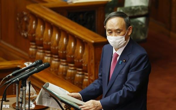 参院本会議で答弁する菅首相(22日)=共同