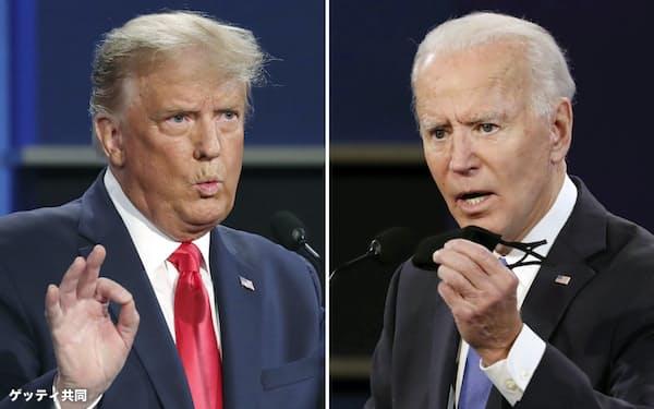 バイデン米大統領(右)はトランプ前大統領の「負の遺産」を解決できるか=ゲッティ共同