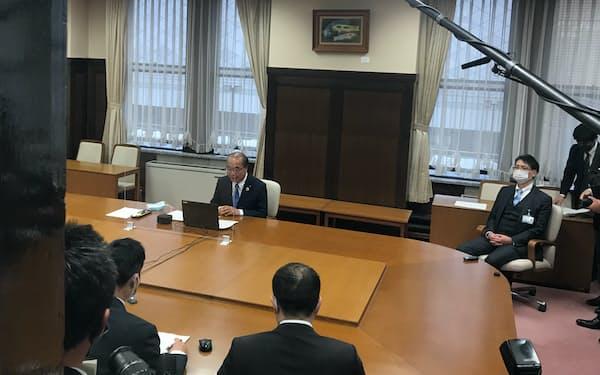 新田知事はオンライン会議で支援を訴えた
