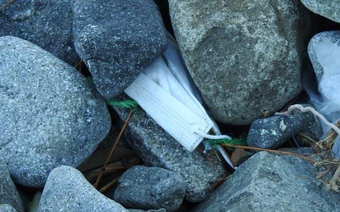 静岡県の海岸には使い捨てマスクが漂着した