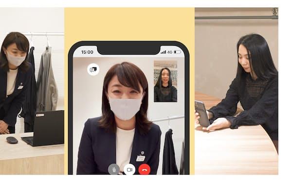 オンライン接客をする伊勢丹新宿店の宮本愛子さん、既に8割がリピーターとなった