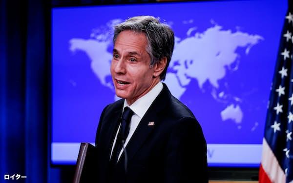 アジア諸国の立場にも配慮した巧みな外交が求められている(1月27日、米国務省で記者会見するブリンケン国務長官)=ロイター