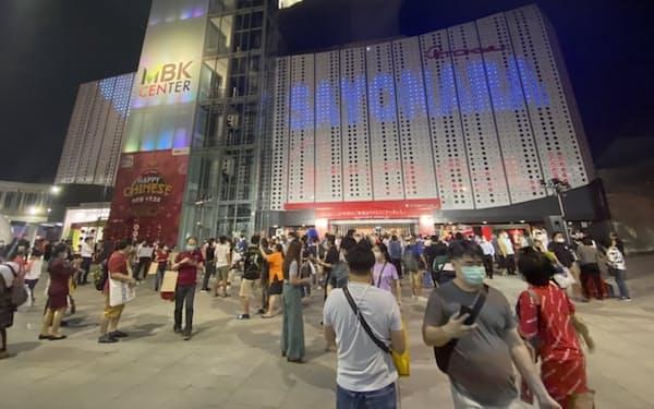 閉店した東急百貨店MBKセンター店には「さよなら」の文字が浮かんだ(1月31日、バンコク)