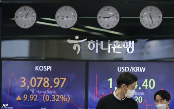 韓国総合株価指数(KOSPI)は年明けに3000台にのせた(ソウル市内の銀行のディーリングルーム)=AP
