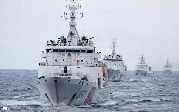中国海警局の艦船(「微信」の公式アカウントから)=共同