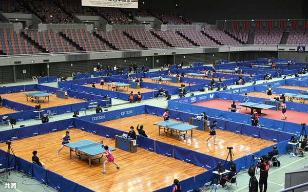 無観客で行われた卓球の全日本選手権=丸善インテックアリーナ大阪
