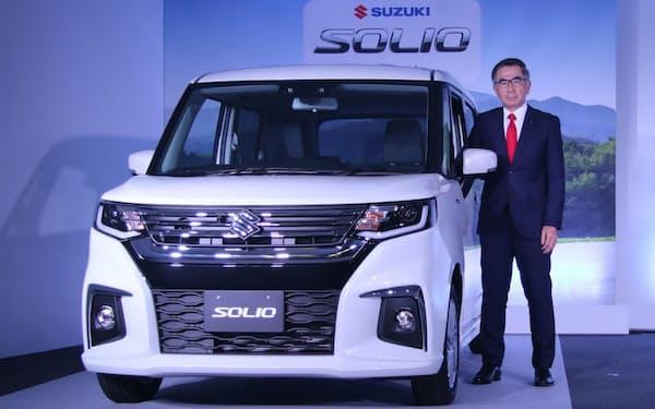 スズキ社長の鈴木俊宏氏。2020年11月25日に新型「ソリオ」の発表会を開催した(出所:スズキ)