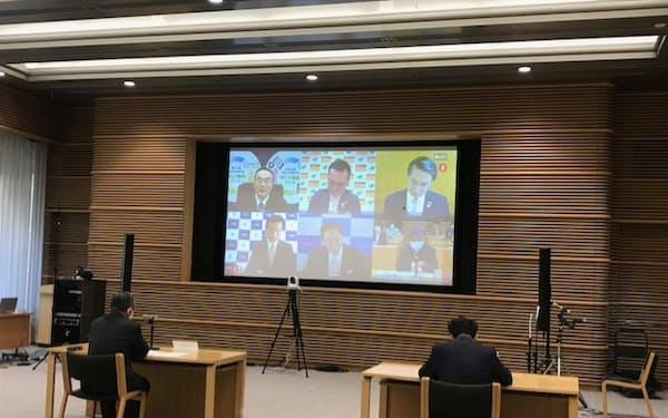全国知事会はオンライン会議を開き、国への緊急提言をまとめた(東京都千代田区の都道府県会館)