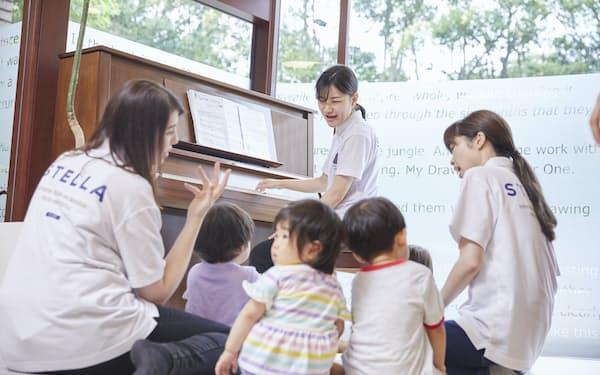 クラッシーが東京や大阪などで展開する保育園「ステラプリスクール」は英語、音楽など独自の教育カリキュラムで人気(東京・港)