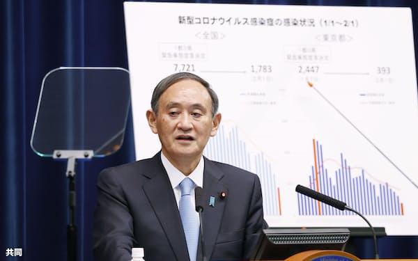 東京都の感染者数の推移を示すグラフを背に記者会見する首相(2日、首相官邸)=共同