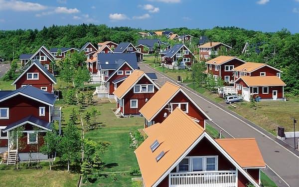 スウェーデンヒルズには北欧風のカラフルな家が並んでいる