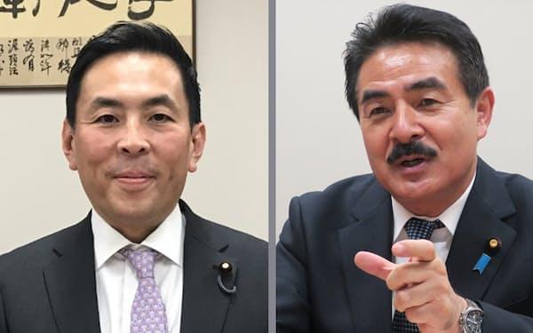立民・篠原豪衆院議員㊧と自民・佐藤正久外交部会長