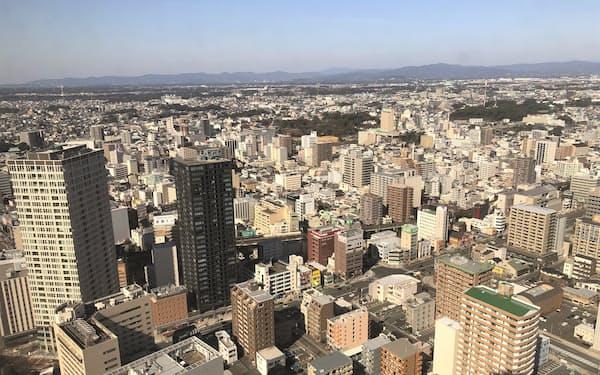 県内上場企業の業績は持ち直している(浜松市中心部)