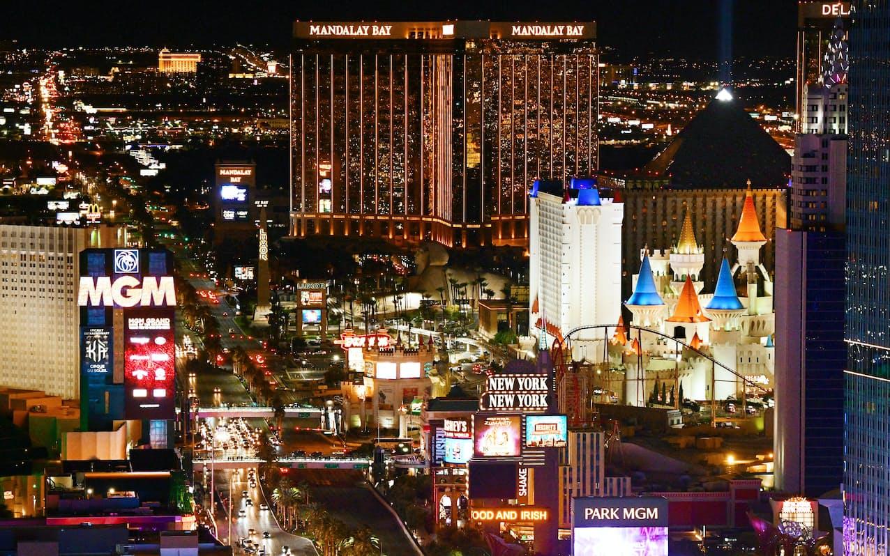 米MGMリゾーツ・インターナショナルが運営するカジノホテルが立ち並ぶラスベガスの中心部(2019年12月、米ネバダ州)