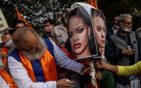インドでは同国政府への批判を展開する米女優のリアーナさんらへの反発が強まる=ロイター