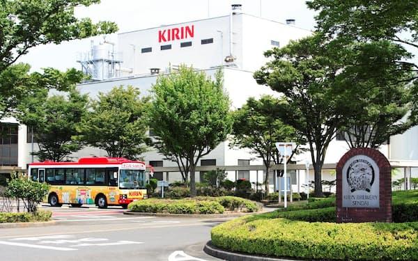 キリンビールの仙台工場では缶の生産ラインが停止した(仙台市)