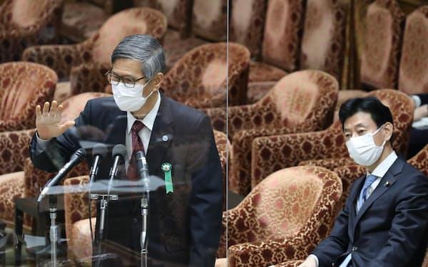 衆院内閣委で答弁する政府分科会の尾身茂会長。右は西村康稔経財相(1日)