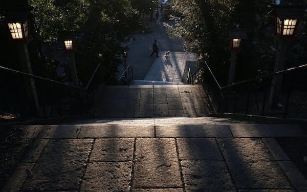 夕暮れ時の谷保天満宮。境内の階段を西日が照らす