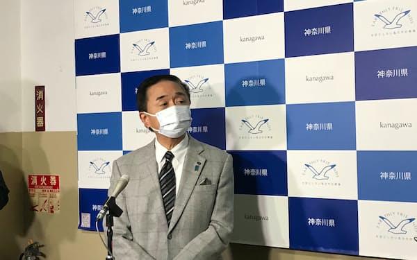 神奈川県の黒岩祐治知事が橋本聖子氏の会長就任に期待を述べた(18日、県庁)