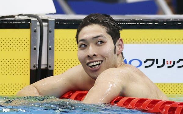 2020年12月の日本選手権男子400メートル個人メドレーで優勝。萩野に久々に笑顔が戻った=共同