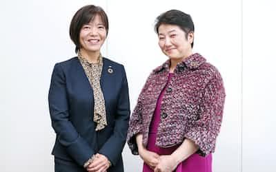 野村証券の鳥海智絵専務執行役員㊧と大和証券の田代桂子副社長