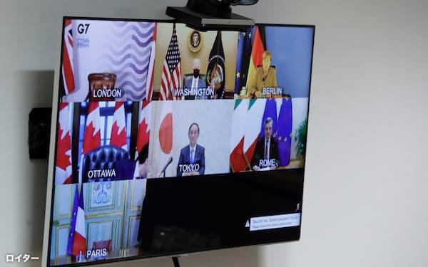 オンラインで開いたG7首脳会議(サミット)=ロイター