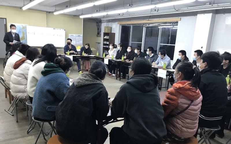 ホッタバイオファームは中国人実習生16人との交流会を開いた(鉾田市、2月19日)