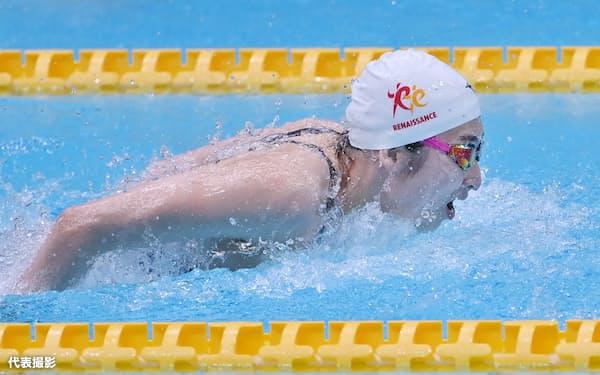 女子50メートルバタフライを制した池江=代表撮影