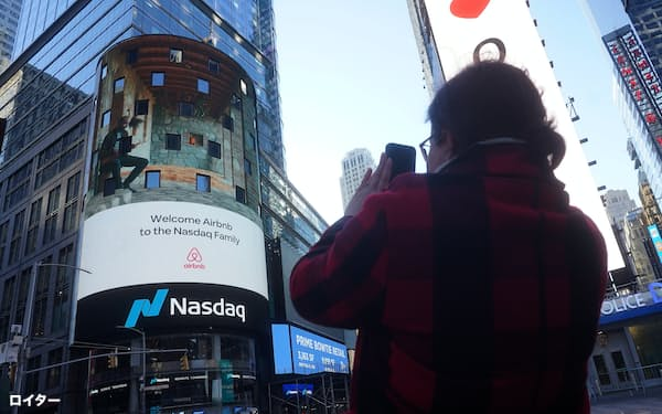 The NASDAQ market site displays an AirBnb sign on their billboard on the day of their IPO in Times Square in the Manhattan borough of New York City, New York, U.S., December 10, 2020. REUTERS/Carlo Allegri