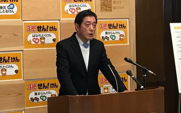 中村知事は県民に改めて感染回避行動の徹底を呼びかけた(24日、愛媛県庁)