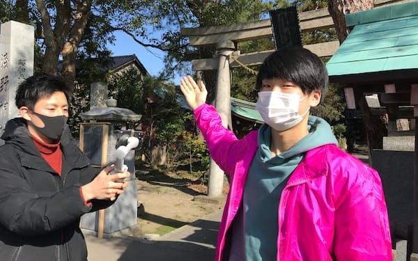 金沢市内で動画の撮影を始めている