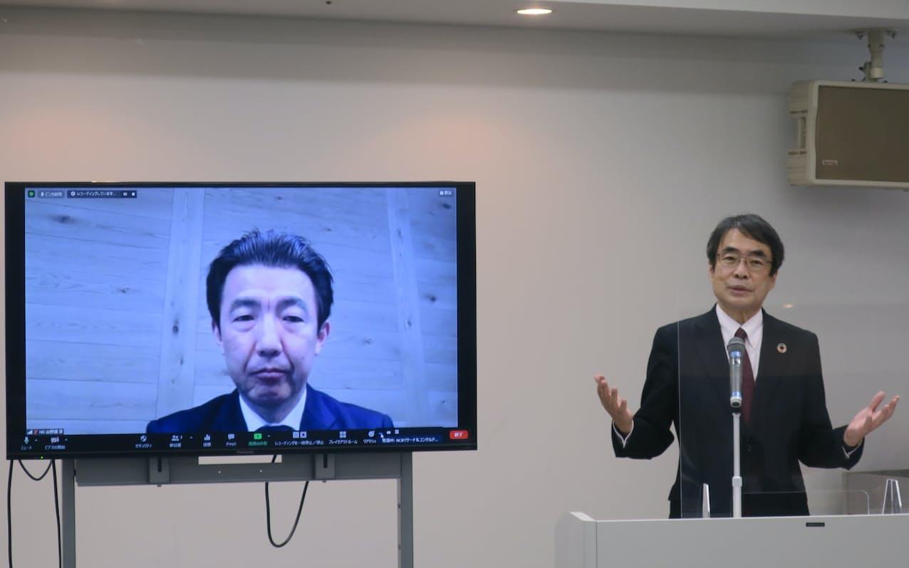 西日本FHは、HISと取引先の海外展開支援を始めた(1日、福岡市)