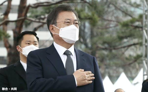 1日、ソウル市内で開かれた「三・一独立運動」の記念式典に出席した文在寅大統領(聯合=共同)