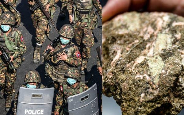 クーデターがミャンマーのレアアース輸出の停滞につながるとの懸念が出ている(写真はミャンマー軍兵士とレアアースを含む鉱石=ロイター)