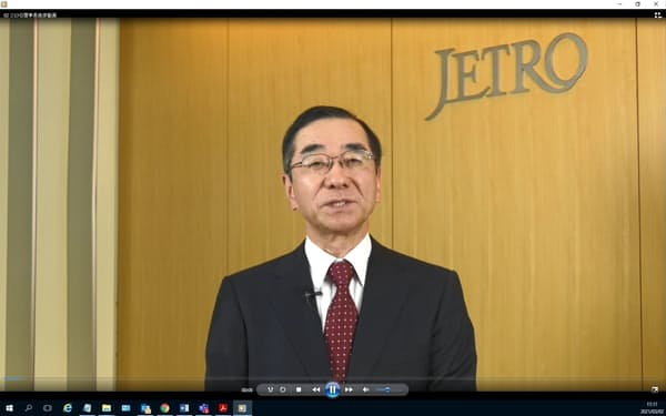 オンラインで主催者あいさつをするジェトロの佐々木伸彦理事長
