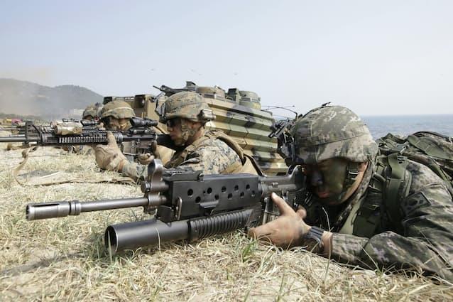 米韓合同軍事演習、8日から 野外訓練3年連続見送り: 日本経済新聞