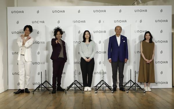 広田社長(右から2番目)は「気軽に身にまとってスポーツも普段の生活も楽しんでいただける、生活に寄り添ったブランドに育てたい」と話した