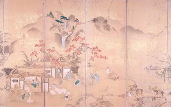 伝真砂幽泉筆「耕織図屏風」(左隻、江戸時代、六曲一双、紙本着色、龍泉寺蔵、和歌山県立博物館提供)