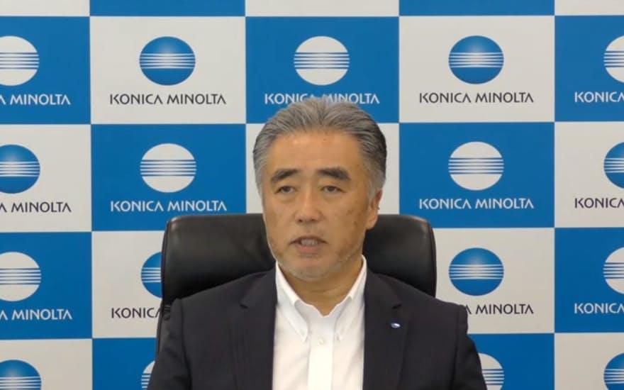 コニカミノルタプレシジョンメディシンの藤井清孝会長兼CEO(10日のオンライン説明会のスクリーンショット)