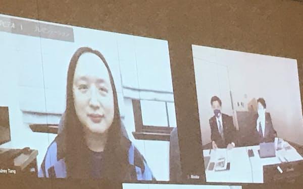 立民の議員らで作る議連で講演する台湾のデジタル担当相のオードリー・タン氏(10日、国会内)