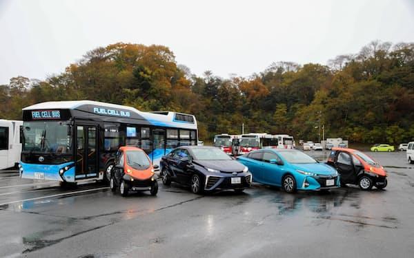 推進機構の活動の結果、福島県いわき市には水素バスなどバッテリーで走る多くの車が集まっている