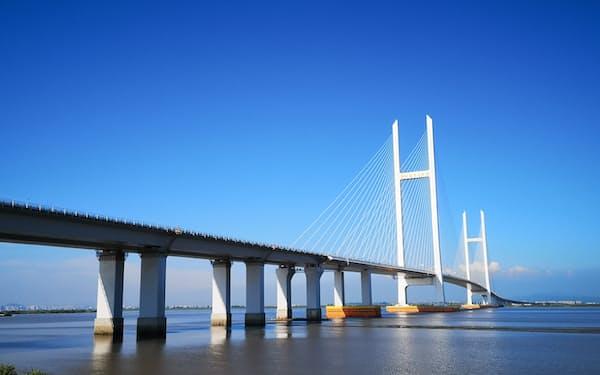 中国の遼寧省丹東市と北朝鮮の新義州をむすぶ「新鴨緑江大橋」(19年8月)