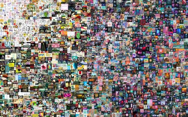 ビープルのデジタルアート作品「Everydays: The First 5,000 Days」=クリスティーズ提供・AP