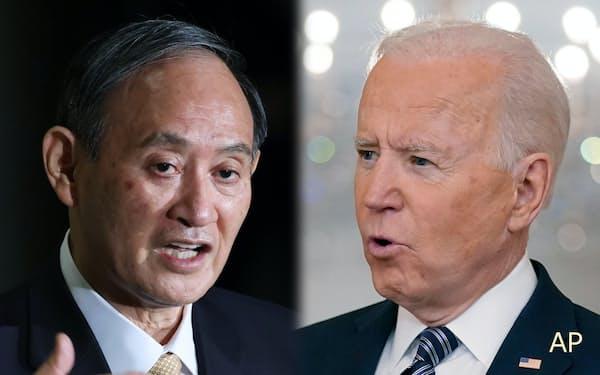 菅首相とバイデン米大統領=AP
