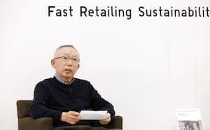 環境への取り組みを、オンラインで説明したファーストリテイリングの柳井正会長兼社長=2月2日