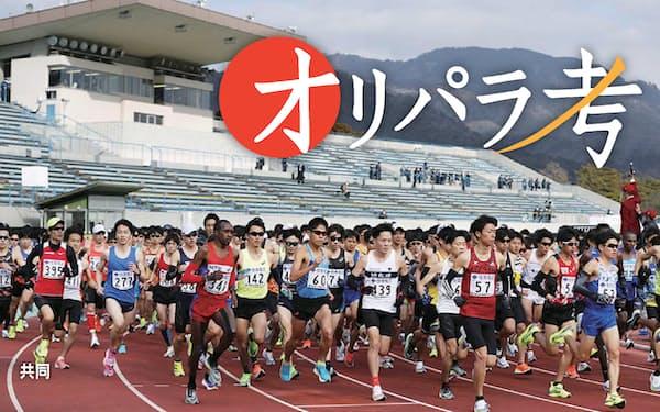滋賀県でのラストレースとなった今年のびわ湖毎日マラソンは多数の集団が速いペースを保ち、好記録が次々と生まれた=共同