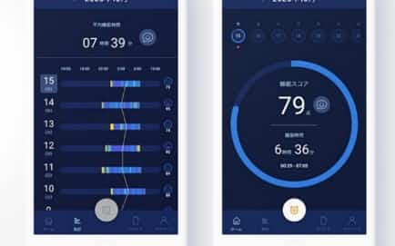 睡眠の質を日単位や月単位で確認し㊧、データに基づき点数化する㊨