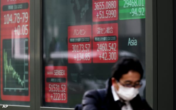 A man walks past screens showing Asian stock markets at a securities firm in Tokyo on Friday, Feb. 12, 2021. Shares fell in Tokyo and Sydney on Friday after stocks closed nearly flat on Wall Street, while most Asian markets were closed to mark the Lunar New Year. (AP Photo/Hiro Komae)